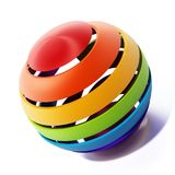Multi colored sphere isolated on white background. 3D illustration.  Stock Image