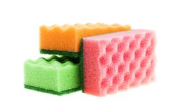 Multi-colored sponges royalty free stock photography