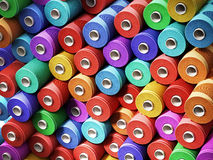 Multi colored stacked threads background. 3D illustration.  Royalty Free Stock Photography