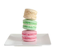 Multi colored sweet macaroons, french traditional, cream,  white Stock Photo