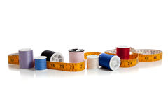 Multi colored thread with tape measure Stock Photo