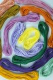 Multi colored threads Stock Photo