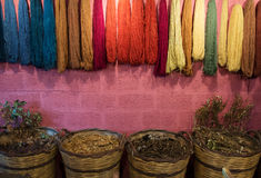 Multi colored threads of wool Royalty Free Stock Photo