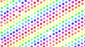 Multi-colored three-dimensional figures from cubes slowly fly on a white. 3d render. Multi-colored three-dimensional figures from cubes slowly fly on a white stock video footage