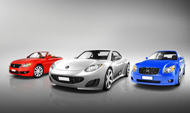 Multi Colored Three Dimensional Modern Cars Royalty Free Stock Photos