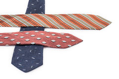 Multi colored ties on white Royalty Free Stock Photo