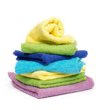 Multi-colored towels. Multi-colored Terry towels  on white background Royalty Free Stock Images