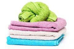 Multi-colored towels Stock Photos