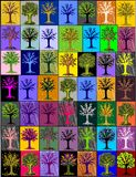 Multi-colored trees. mosaic background. Royalty Free Stock Photos