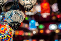 Multi-colored turkish lamps Stock Photography