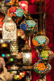 Multi-colored turkish lamps Stock Photo