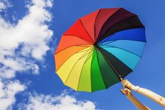 Free Multi-colored Umbrella On The Sky Background Stock Image - 93491601