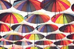 Multi colored umbrellas. Stock Image