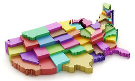Multi colored USA map showing state borders. 3D illustration.  royalty free illustration