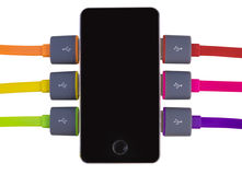 Multi-colored USB in hub Stock Image
