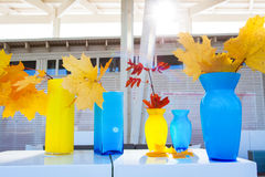 Multi-colored vases of different shapes Royalty Free Stock Photography