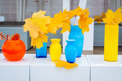 Multi-colored vases of different shapes Stock Photos
