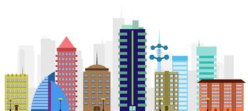 Multi-colored vector city Stock Photography