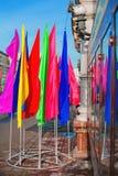 Multi-colored vlaggen op de straat Royalty-vrije Stock Afbeelding