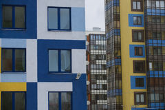 Multi-colored walls of apartment buildings. Stock Photo