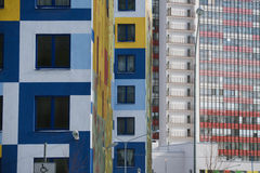 Multi-colored walls of apartment buildings. Stock Image