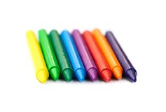 Multi-colored wax crayons Royalty Free Stock Images