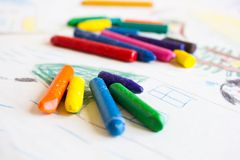 Multi-colored wax pencils Royalty Free Stock Photography
