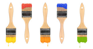 Multi Colored Wet Paint Brushes Royalty Free Stock Image