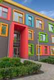 Multi-colored windows of the school in a contemporary style Stock Images
