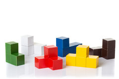 Multi colored wooden blocks, logic puzzle Royalty Free Stock Image