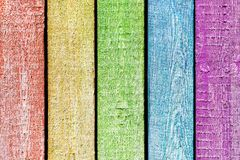 Multi colored wooden planks, painted as rainbow. Aged multi colored wooden planks, painted as rainbow texture, background, abstract Royalty Free Stock Photography