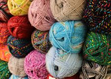 Multi Colored Wool. A colour image of multi coloured skeins of wool ready for knitting stock images