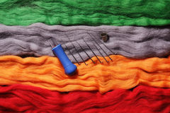 Multi-colored wool for felting and needles- handicraft items Stock Photos