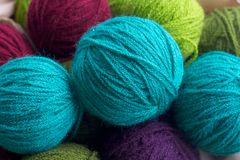 Multi-colored wool threads Royalty Free Stock Photography