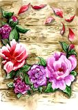A multi-colored wreath of flowers and leaves against a wooden wall royalty free illustration