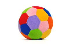 Multi-colored Zachte stuk speelgoed geïsoleerde bal Royalty-vrije Stock Foto