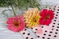 Multi-colored zinnia flowers with gypsophila and gift bag Stock Image