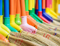 Multi colors dry grass broom, hand made from nature in Thailand. Stock Image