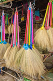 Multi colors dry grass broom, hand made from nature Royalty Free Stock Photos