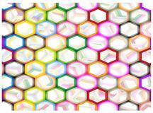 Multi Colors of Hexagon on Abstract Background Royalty Free Stock Photography