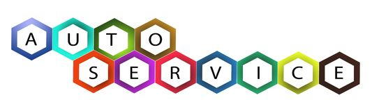 Multi Colors Hexagon Frame with Text Auto Service Royalty Free Stock Photos