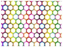 Multi Colors of Hexagon on White Background Stock Photos