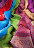 Multi-colors texture. Silk fabric close-up of beautiful texture and multi-colors Royalty Free Stock Image