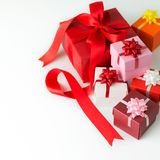 Multi colour gift boxes Royalty Free Stock Image