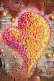 Multi colour heart graffiti Royalty Free Stock Photo