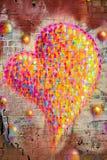 Multi colour heart graffiti Royalty Free Stock Photo