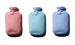 Multi colour hot water bottles Royalty Free Stock Photography