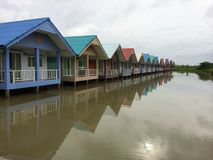 Multi-colour resort. Multi-colored waterfront resort in rural Thailand Royalty Free Stock Image