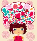 Multi-coloured сartoon illustration. With girl Stock Images
