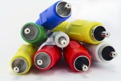 Multi-coloured audio en videoschakelaars Stock Afbeelding